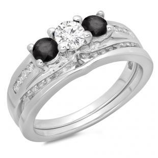 1.10 Carat (ctw) 14K White Gold Round Black & White Diamond Ladies Bridal 3 Stone Engagement Ring With Matching Band Set 1 CT