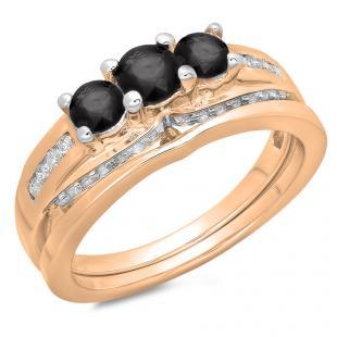 1.10 Carat (ctw) 10K Rose Gold Round Black & White Diamond Ladies Bridal 3 Stone Engagement Ring With Matching Band Set 1 CT
