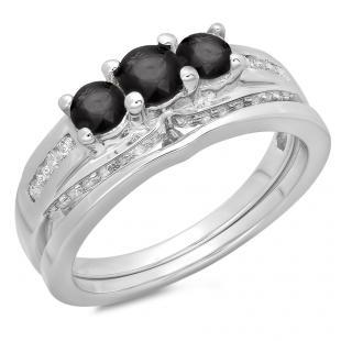 1.10 Carat (ctw) 10K White Gold Round Black & White Diamond Ladies Bridal 3 Stone Engagement Ring With Matching Band Set 1 CT