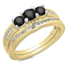 1.10 Carat (ctw) 10K Yellow Gold Round Black & White Diamond Ladies Bridal 3 Stone Engagement Ring With Matching Band Set 1 CT
