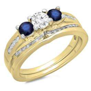 1.10 Carat (ctw) 10K Yellow Gold Round Blue Sapphire & White Diamond Ladies Bridal 3 Stone Engagement Ring With Matching Band Set 1 CT