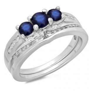 1.10 Carat (ctw) 18K White Gold Round Blue Sapphire & White Diamond Ladies Bridal 3 Stone Engagement Ring With Matching Band Set 1 CT