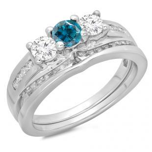 1.10 Carat (ctw) 18K White Gold Round Blue & White Diamond Ladies Bridal 3 Stone Engagement Ring With Matching Band Set 1 CT