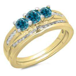 1.10 Carat (ctw) 10K Yellow Gold Round Blue & White Diamond Ladies Bridal 3 Stone Engagement Ring With Matching Band Set 1 CT