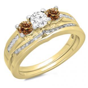 1.10 Carat (ctw) 14K Yellow Gold Round Champagne & White Diamond Ladies Bridal 3 Stone Engagement Ring With Matching Band Set 1 CT