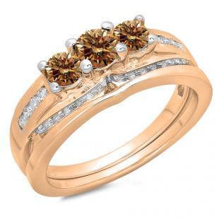 1.10 Carat (ctw) 14K Rose Gold Round Champagne & White Diamond Ladies Bridal 3 Stone Engagement Ring With Matching Band Set 1 CT