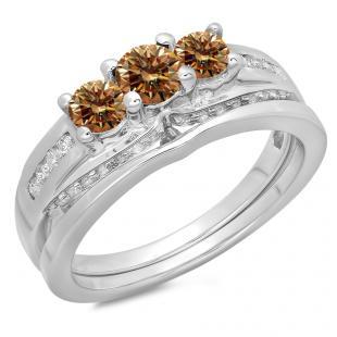 1.10 Carat (ctw) 18K White Gold Round Champagne & White Diamond Ladies Bridal 3 Stone Engagement Ring With Matching Band Set 1 CT