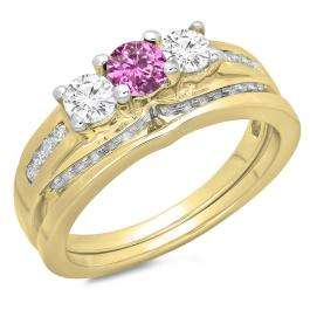 1.10 Carat (ctw) 14K Yellow Gold Round Pink Sapphire & White Diamond Ladies Bridal 3 Stone Engagement Ring With Matching Band Set 1 CT