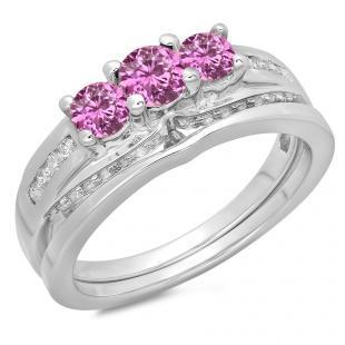 1.10 Carat (ctw) 18K White Gold Round Pink Sapphire & White Diamond Ladies Bridal 3 Stone Engagement Ring With Matching Band Set 1 CT