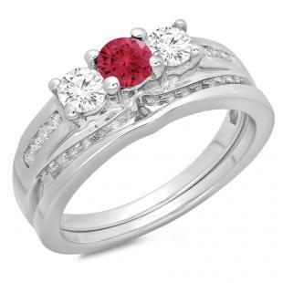 1.10 Carat (ctw) 10K White Gold Round Red Ruby & White Diamond Ladies Bridal 3 Stone Engagement Ring With Matching Band Set 1 CT