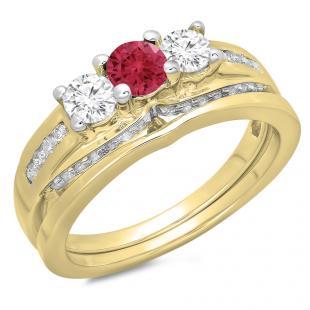1.10 Carat (ctw) 10K Yellow Gold Round Red Ruby & White Diamond Ladies Bridal 3 Stone Engagement Ring With Matching Band Set 1 CT