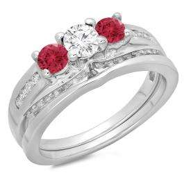 1.10 Carat (ctw) 10K White Gold Round Red Ruby & White Diamond Ladies Bridal 3 Stone Engagement Ring With Matching Band Set 1 CT