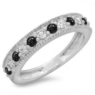 0.50 Carat (ctw) 10K White Gold Round Cut Black & White Diamond Ladies Millgrain Anniversary Wedding Stackable Band 1/2 CT
