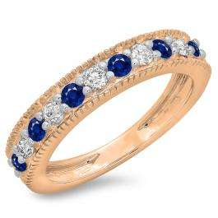 0.50 Carat (ctw) 18K Rose Gold Round Cut Blue Sapphire & White Diamond Ladies Millgrain Anniversary Wedding Stackable Band 1/2 CT