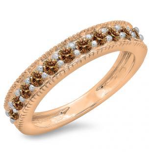 0.50 Carat (ctw) 14K Rose Gold Round Cut Champagne Diamond Ladies Millgrain Anniversary Wedding Stackable Band 1/2 CT