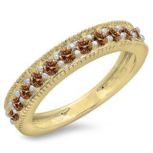 0.50 Carat (ctw) 18K Yellow Gold Round Cut Champagne Diamond Ladies Millgrain Anniversary Wedding Stackable Band 1/2 CT