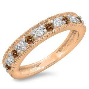 0.50 Carat (ctw) 10K Rose Gold Round Cut Champagne & White Diamond Ladies Millgrain Anniversary Wedding Stackable Band 1/2 CT