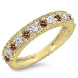 0.50 Carat (ctw) 10K Yellow Gold Round Cut Champagne & White Diamond Ladies Millgrain Anniversary Wedding Stackable Band 1/2 CT