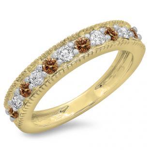 0.50 Carat (ctw) 14K Yellow Gold Round Cut Champagne & White Diamond Ladies Millgrain Anniversary Wedding Stackable Band 1/2 CT