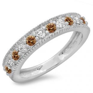 0.50 Carat (ctw) 18K White Gold Round Cut Champagne & White Diamond Ladies Millgrain Anniversary Wedding Stackable Band 1/2 CT
