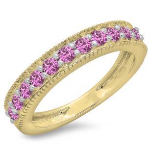 0.50 Carat (ctw) 10K Yellow Gold Round Cut Pink Sapphire Ladies Millgrain Anniversary Wedding Stackable Band 1/2 CT