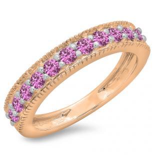 0.50 Carat (ctw) 18K Rose Gold Round Cut Pink Sapphire Ladies Millgrain Anniversary Wedding Stackable Band 1/2 CT
