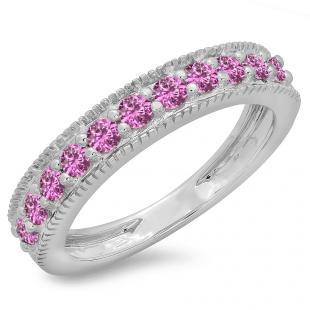 0.50 Carat (ctw) 18K White Gold Round Cut Pink Sapphire Ladies Millgrain Anniversary Wedding Stackable Band 1/2 CT