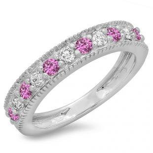 0.50 Carat (ctw) 10K White Gold Round Cut Pink Sapphire & White Diamond Ladies Millgrain Anniversary Wedding Stackable Band 1/2 CT