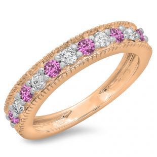 0.50 Carat (ctw) 14K Rose Gold Round Cut Pink Sapphire & White Diamond Ladies Millgrain Anniversary Wedding Stackable Band 1/2 CT