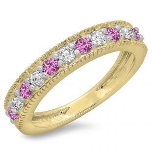 0.50 Carat (ctw) 14K Yellow Gold Round Cut Pink Sapphire & White Diamond Ladies Millgrain Anniversary Wedding Stackable Band 1/2 CT