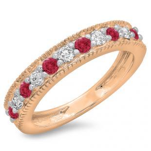 0.50 Carat (ctw) 18K Rose Gold Round Cut Red Ruby & White Diamond Ladies Millgrain Anniversary Wedding Stackable Band 1/2 CT