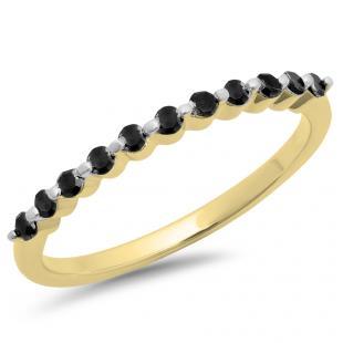 0.25 Carat (ctw) 10K Yellow Gold Round Black Diamond Ladies 11 Stone Anniversary Wedding Stackable Band 1/4 CT