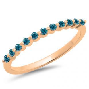 0.25 Carat (ctw) 10K Rose Gold Round Blue Diamond Ladies 11 Stone Anniversary Wedding Stackable Band 1/4 CT