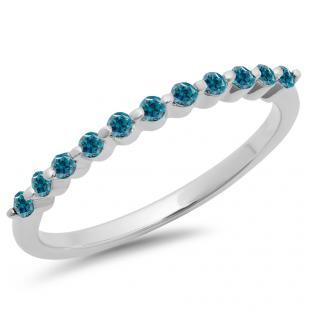 0.25 Carat (ctw) 10K White Gold Round Blue Diamond Ladies 11 Stone Anniversary Wedding Stackable Band 1/4 CT