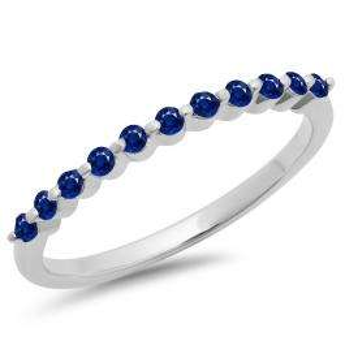 0.25 Carat (ctw) 14K White Gold Round Blue Sapphire Ladies 11 Stone Anniversary Wedding Stackable Band 1/4 CT