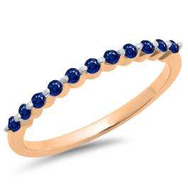 0.25 Carat (ctw) 18K Rose Gold Round Blue Sapphire Ladies 11 Stone Anniversary Wedding Stackable Band 1/4 CT