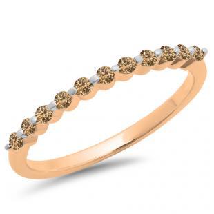 0.25 Carat (ctw) 14K Rose Gold Round Champagne Diamond Ladies 11 Stone Anniversary Wedding Stackable Band 1/4 CT