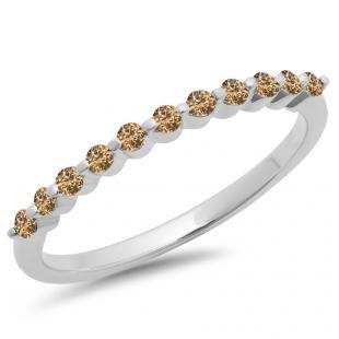 0.25 Carat (ctw) 14K White Gold Round Champagne Diamond Ladies 11 Stone Anniversary Wedding Stackable Band 1/4 CT