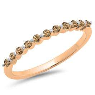 0.25 Carat (ctw) 18K Rose Gold Round Champagne Diamond Ladies 11 Stone Anniversary Wedding Stackable Band 1/4 CT