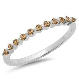 0.25 Carat (ctw) 18K White Gold Round Champagne Diamond Ladies 11 Stone Anniversary Wedding Stackable Band 1/4 CT