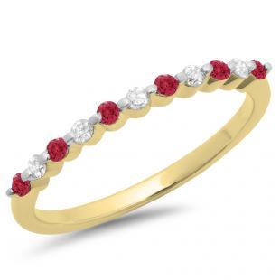 0.25 Carat (ctw) 14K Yellow Gold Round Red Ruby & White Diamond Ladies 11 Stone Anniversary Wedding Stackable Band 1/4 CT