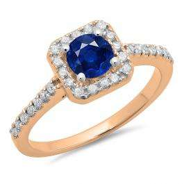 0.90 Carat (ctw) 14K Rose Gold Round Blue Sapphire & White Diamond Ladies Bridal Halo Style Engagement Ring