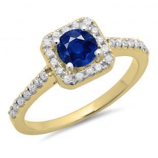 0.90 Carat (ctw) 14K Yellow Gold Round Blue Sapphire & White Diamond Ladies Bridal Halo Style Engagement Ring