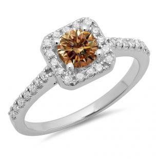 0.90 Carat (ctw) 18K White Gold Round champagne & White Diamond Ladies Bridal Halo Style Engagement Ring