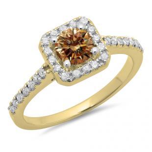 0.90 Carat (ctw) 18K Yellow Gold Round champagne & White Diamond Ladies Bridal Halo Style Engagement Ring
