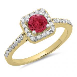 0.90 Carat (ctw) 10K Yellow Gold Round Red Ruby & White Diamond Ladies Bridal Halo Style Engagement Ring