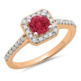 0.90 Carat (ctw) 14K Rose Gold Round Red Ruby & White Diamond Ladies Bridal Halo Style Engagement Ring