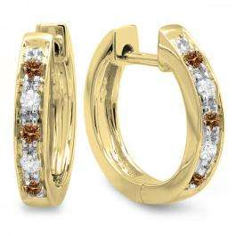 0.15 Carat (ctw) 18K Yellow Gold Round Champagne & White Diamond Ladies Huggie Hoop Earrings