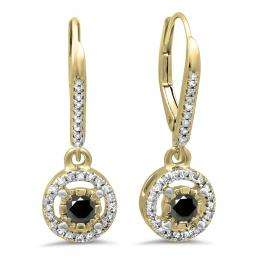 0.50 Carat (ctw) 18K Yellow Gold Round Cut Black & White Diamond Ladies Cluster Halo Style Dangling Drop Earrings 1/2 CT