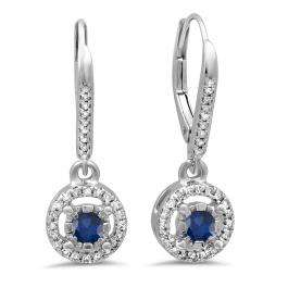 0.50 Carat (ctw) 18K White Gold Round Cut Blue Sapphire & White Diamond Ladies Cluster Halo Style Dangling Drop Earrings 1/2 CT